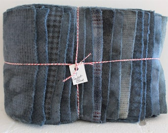Hand Dyed Wool Fabric, 17 Cadet Blue Fat 1/16 Sixteenth for Primitive Rug Hooking