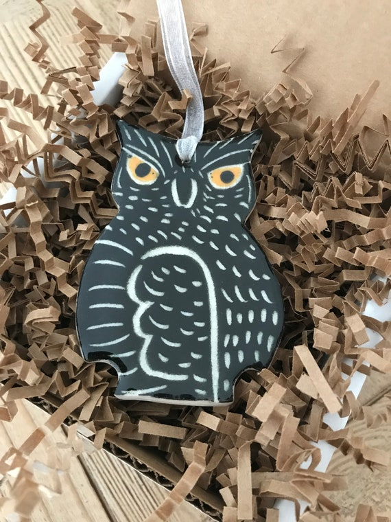Handmade Sgraffito Owl Pottery Ornament