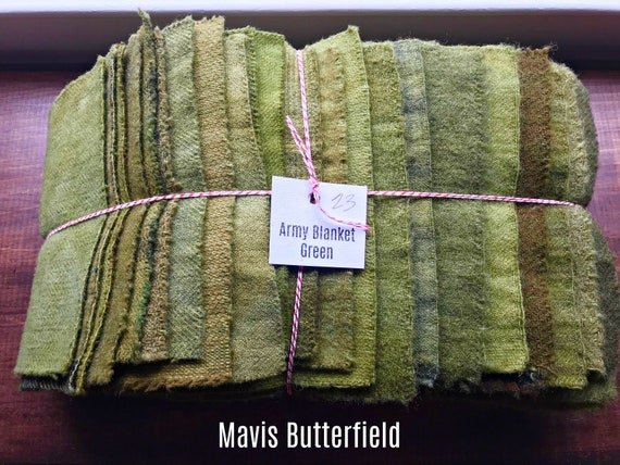 Hand Dyed Wool Fabric, 23 Army Blanket Green Fat 1/16 Sixteenth for Primitive Rug Hooking