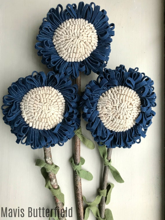 Set of 3 GIANT Primitive Folk Art Hooked Wool Rug Navy Blue Flowers