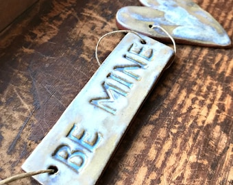 Rustic Redware Pottery ~ BE MINE Ocean Blue Hearts Banner ~ Garland ~ Perfect for Valentine's Day