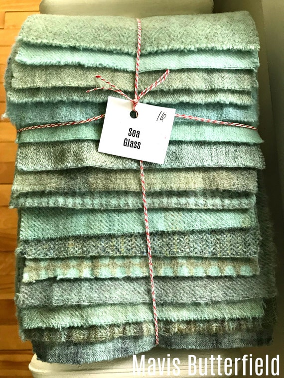 Hand Dyed Wool Fabric, 16 Sea Glass Blue Fat 1/16 Sixteenth for Primitive Rug Hooking