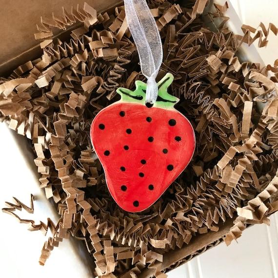 Handmade Strawberry Pottery Ornament