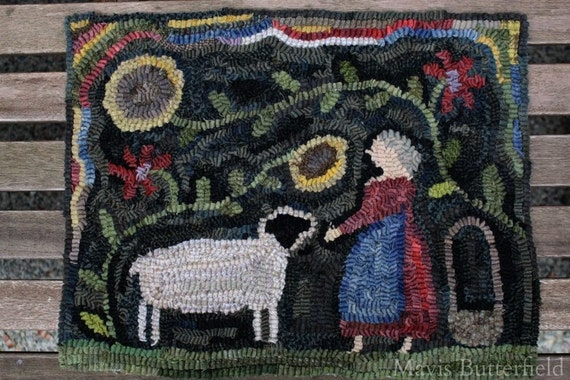 Primitive Wool Hooked Rug with Folk Art Sunflower Garden and Lamb