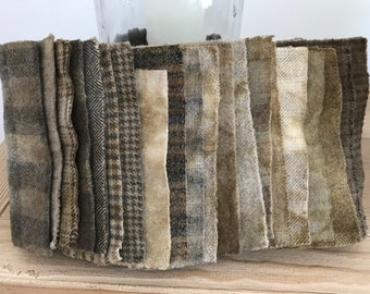 Hand Dyed Wool Fabric, 20 Perfect Brown 1/16ths Fat Sixteenths for Primitive Rug Hooking