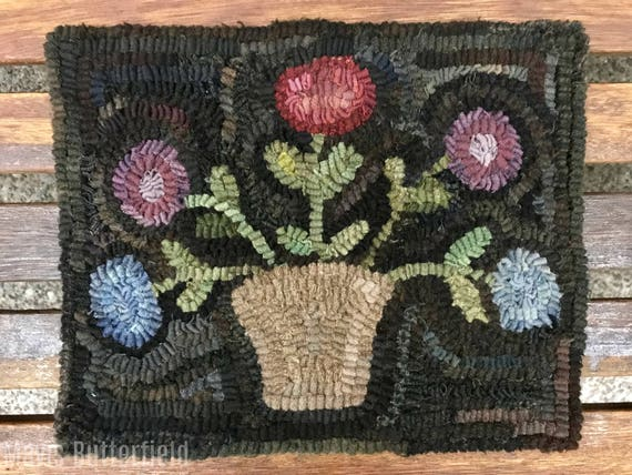 Rug Hooking Pattern A Basket of Spring Posies on Linen or Paper