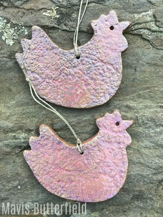 Rustic Chicken Redware Pottery Ornament ~ Pink