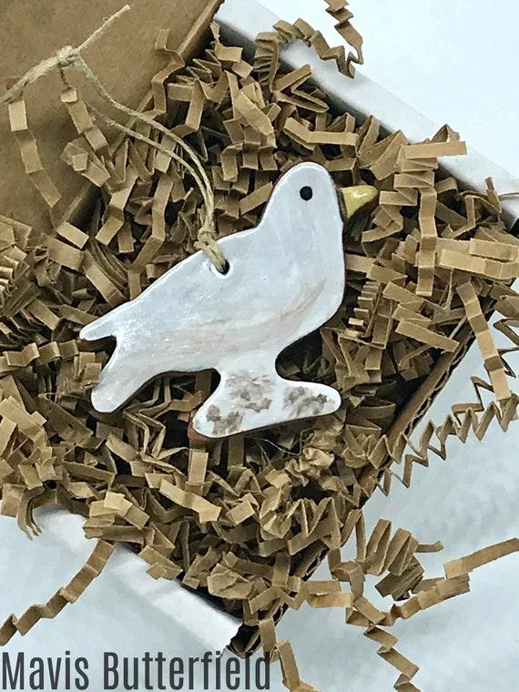 Rustic Seagull Redware Pottery Ornament