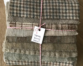 Hand Dyed Wool Fabric, 8 Spring Bunny Brown Fat 1/16 Sixteenth for Primitive Rug Hooking