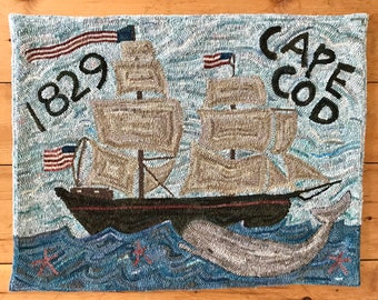 RUG HOOKING KIT - Cape Cod 1829 New England Whale and Sailboat
