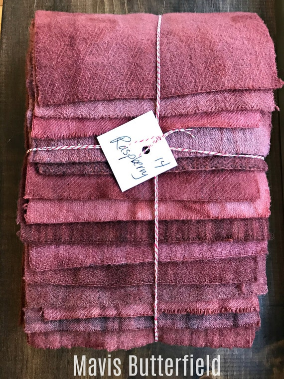 Hand Dyed Wool Fabric, 14 Raspberry Red Fat Sixteenths {1/16} for Primitive Rug Hooking