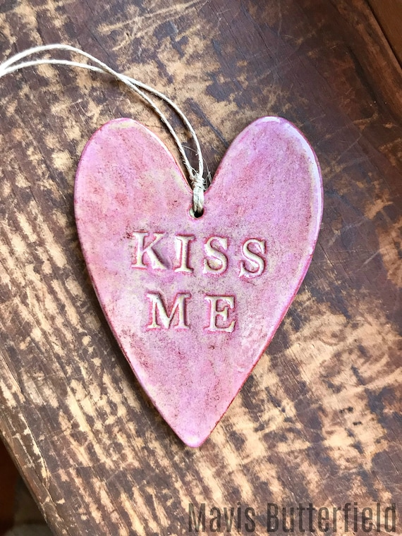 Rustic Redware Pottery ~ Pink Valentine Heart ~ Kiss Me ~ Valentine's Day