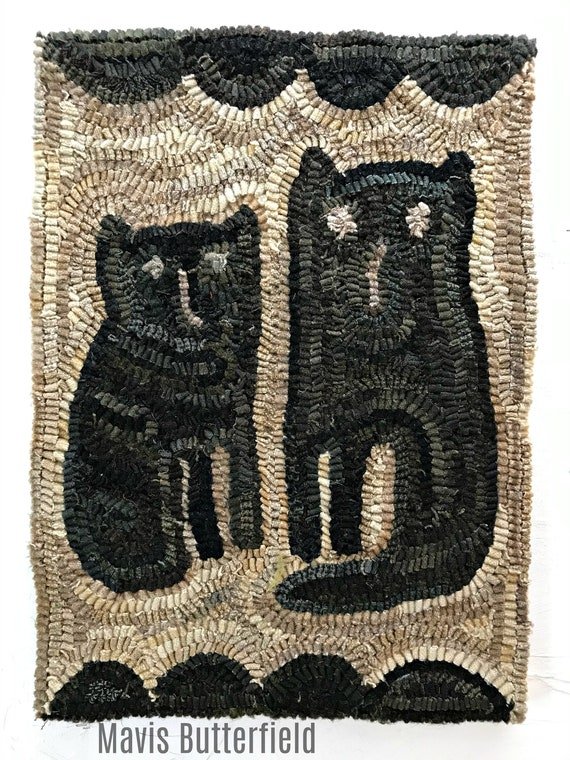 Primitive Cat Rug Hooking PATTERN on linen ~ Twin Kitties on Linen