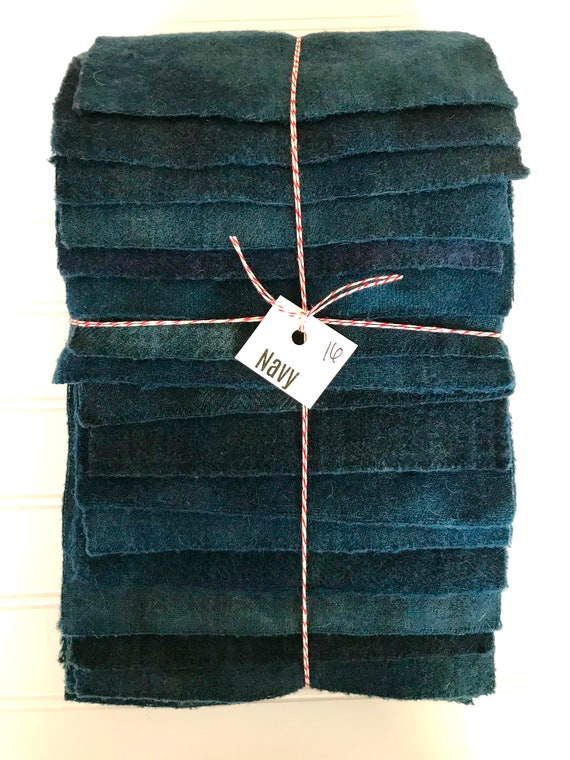 Hand Dyed Wool Fabric, 16 Navy Fat 1/16 Sixteenth for Primitive Rug Hooking