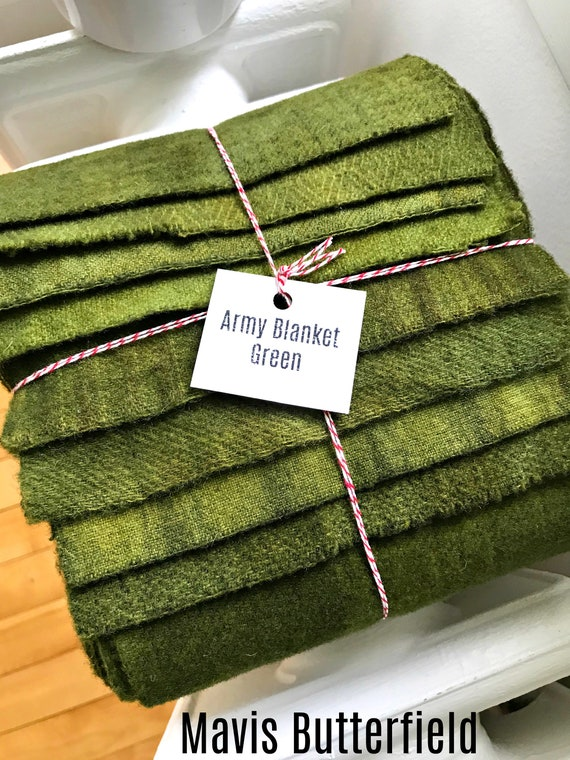Hand Dyed Wool Fabric, 8 Army Green Fat 1/16 Sixteenth for Primitive Rug Hooking