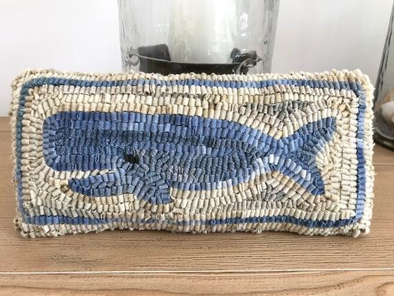 Primitive American Folk Art ~ Wool Hooked Rug Pillow ~ Small  Nantucket Whale ~