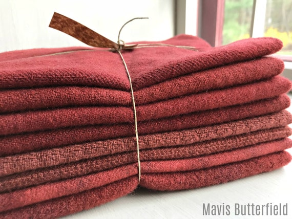 Hand Dyed Wool Fabric, 8 Cranberry 1/8 Yard Fat Eighths for Primitive Rug Hooking