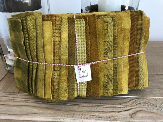Hand Dyed Wool Fabric, 22 Mustard Fat 1/16 Sixteenth for Primitive Rug Hooking