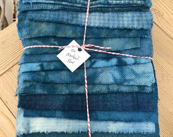 Hand Dyed Wool Fabric, 20 Nautical Blue Fat Sixteenths 1/16 for Primitive Rug Hooking