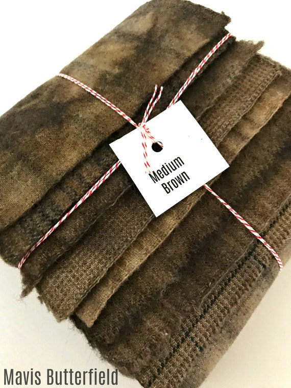 Hand Dyed Wool Fabric, 8 Medium Brown Fat 1/16th Sixteenths Yards for Primitive Rug Hooking
