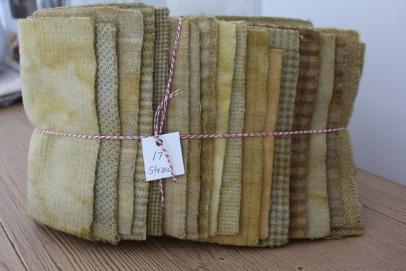 Hand Dyed Wool Fabric, 17 Straw Yellow 1/16ths Fat Sixteenths for Primitive Rug Hooking