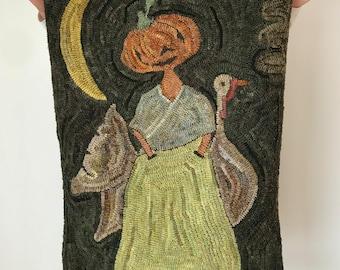 The Pumpkin Ladye & Her Deare Companion ~ Rug Hooking Pattern on Linen