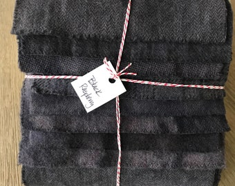 Hand Dyed Wool Fabric, 8 Black Raspberry Fat 1/16 Sixteenth for Primitive Rug Hooking