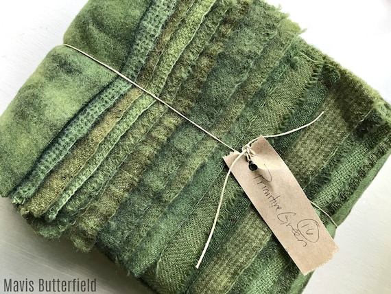 Hand Dyed Wool Fabric, 16 Primitive Green Fat 1/16 Sixteenth for Primitive Rug Hooking