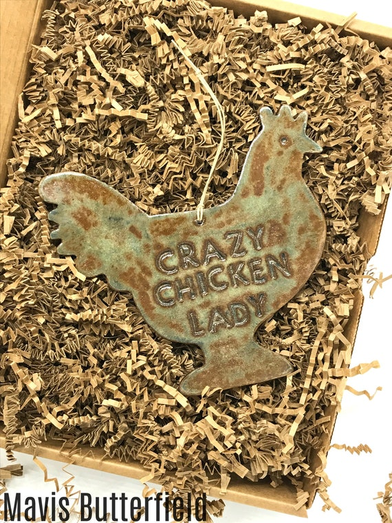 LARGE Crazy Chicken Lady Redware Pottery Ornament ~