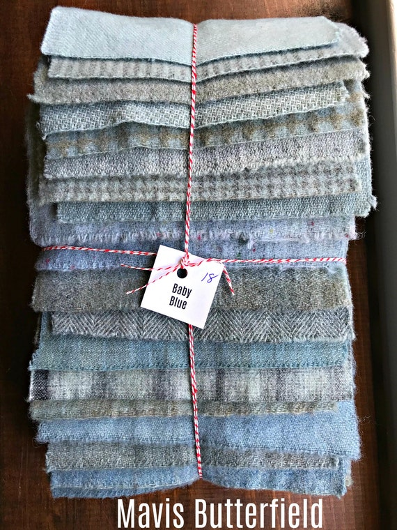 Hand Dyed Wool Fabric, 18 Baby Blue Fat 1/16 Sixteenth for Primitive Rug Hooking
