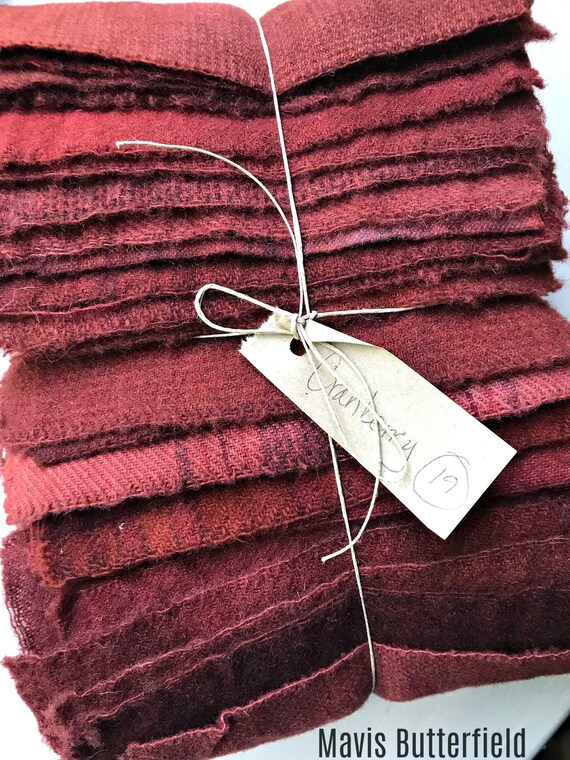 Hand Dyed Wool Fabric, 19 Cranberry Red Fat Sixteenths {1/16} for Primitive Rug Hooking