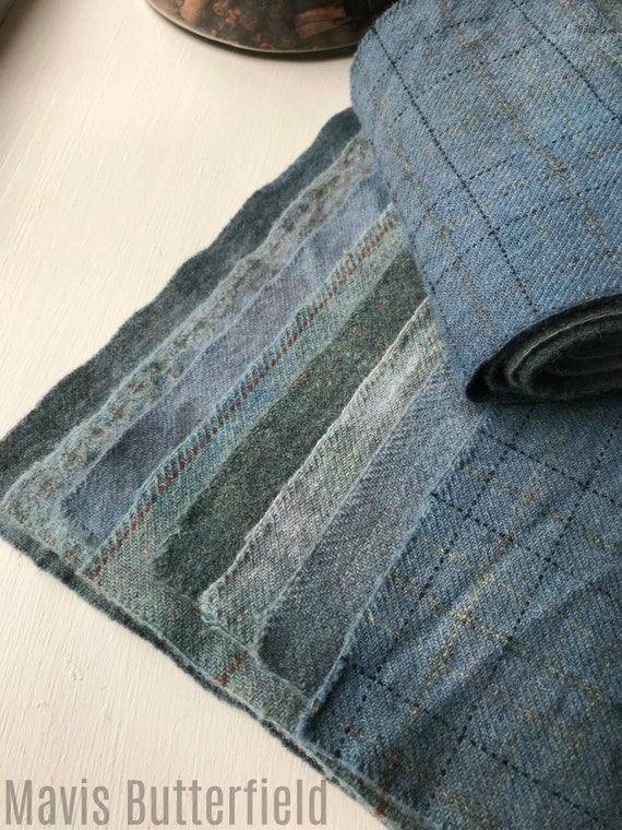 Hand Dyed Wool Fabric, 8 Cadet Blue Fat 1/16 Sixteenth for Primitive Rug Hooking
