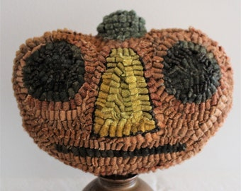 Primitive Halloween Wool Hooked Rug Pumpkin Make Do on Antique Oil Can