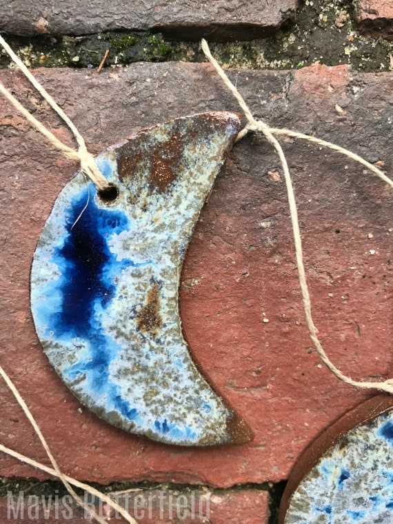 Rustic Blue Moon Redware Pottery Ornament