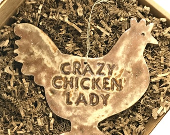 LARGE Crazy Chicken Lady Redware Pottery Ornament ~  Nutmeg Brown ~