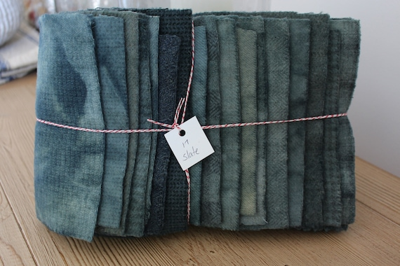 Hand Dyed Wool Fabric, 17 Slate Blue Fat 1/16 Sixteenth for Primitive Rug Hooking