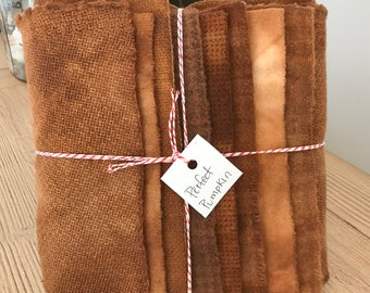 Hand Dyed Wool Fabric, 8 Perfect Pumpkin Fat 1/16 Sixteenth for Primitive Rug Hooking