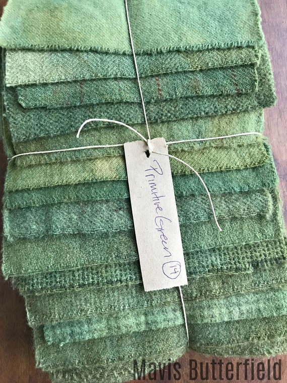 Hand Dyed Wool Fabric, 14 Primitive Green Fat 1/16 Sixteenth for Primitive Rug Hooking