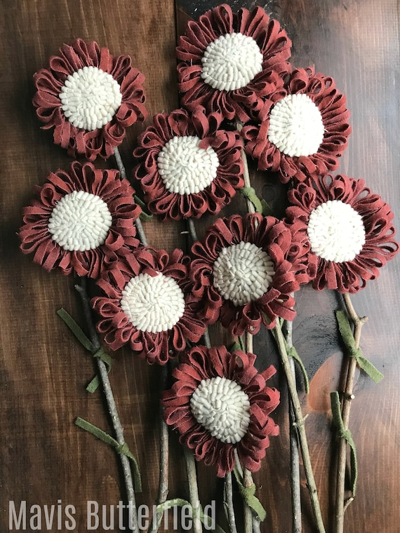 Set of 9 Primitive Folk Art Wool Hooked Rug Flowers ~ Antique Red ~
