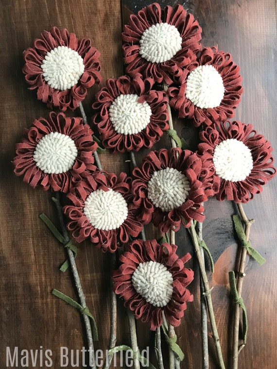 Set of 9 Primitive Folk Art Wool Hooked Rug Flowers ~ Antique Red ~