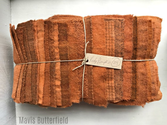 Hand Dyed Wool Fabric, 24 Rusty Pumpkin Fat 1/16 Sixteenth for Primitive Rug Hooking
