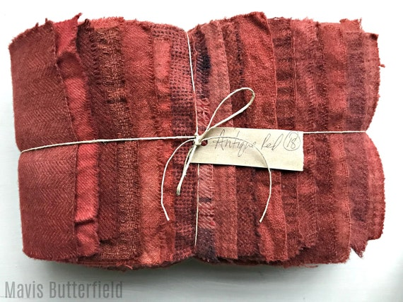 Hand Dyed Wool Fabric, 18 Antique Red Fat Sixteenths {1/16} for Primitive Rug Hooking