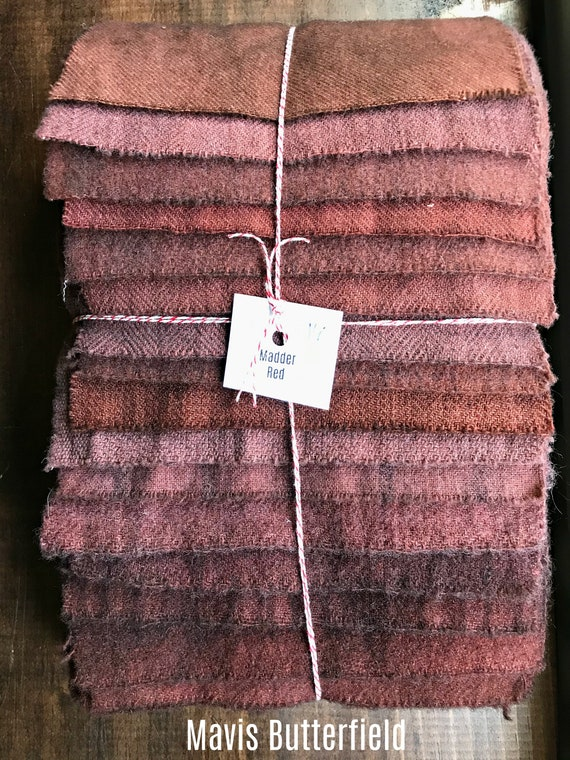 Hand Dyed Wool Fabric, 16 Madder Red Fat Sixteenths {1/16} for Primitive Rug Hooking