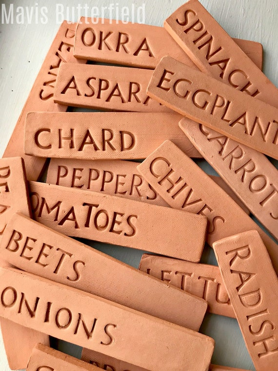 Vegetable Markers - Garden Markers - Herb Markers - Plant Markers - Flower Markers - Clean and Simple Design - Minimalist - Pottery - Clay