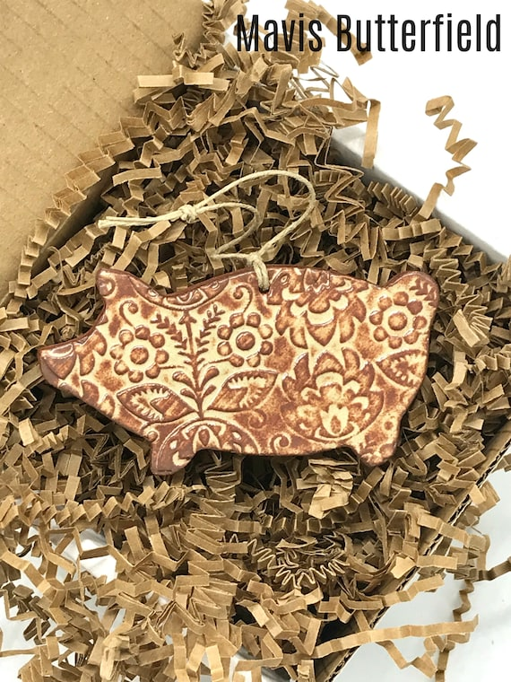 Rustic Pig Redware Pottery Ornament ~ Nutmeg Brown