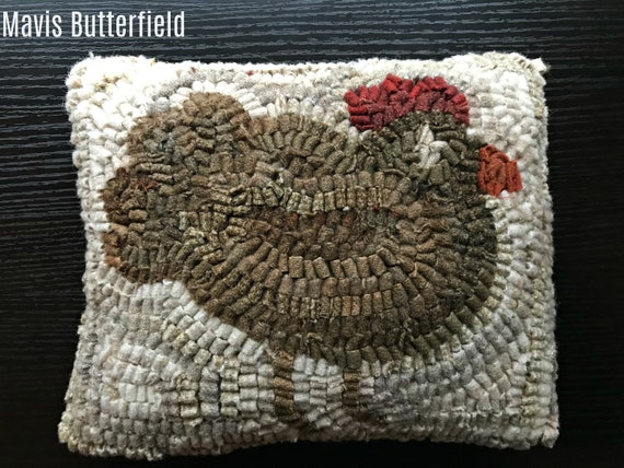 Folk Art Primitive Wool Hooked Rug Fat Brown Hen PILLOW