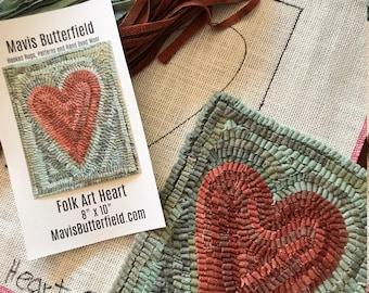 RUG HOOKING KIT - Primitive Folk Art Heart on Linen
