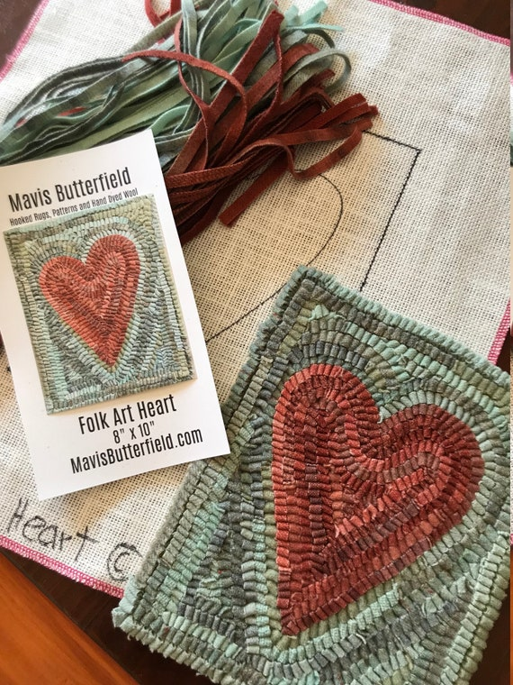 RUG HOOKING KIT - Primitive Folk Art Heart on Linen