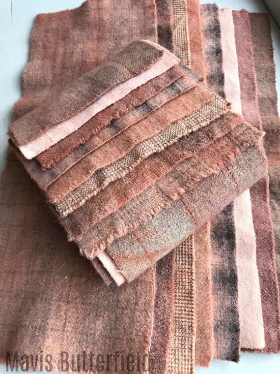 Hand Dyed Wool Fabric, 8 Primitive Pink Fat 1/16 Sixteenth for Primitive Rug Hooking