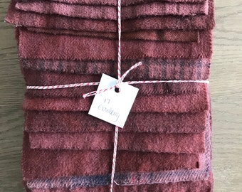 Hand Dyed Wool Fabric, 17 Cranberry Fat 1/16 Sixteenth for Primitive Rug Hooking